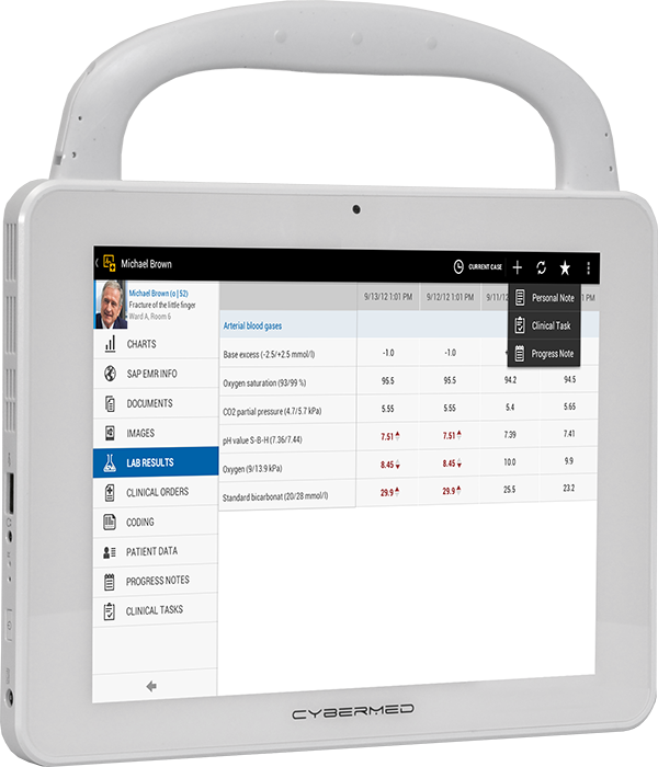 View of the CyberMed T10C Medical Grade Tablet
